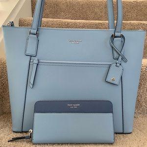 Kate spade Cameron pocket tote blue wallet set new